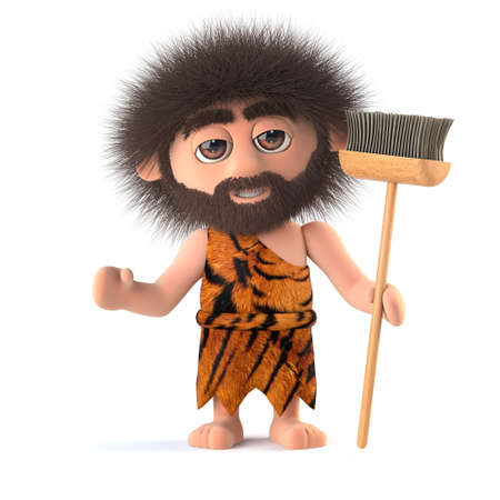 3d render of a funny cartoon primitive caveman character holding a broom Stock Photo