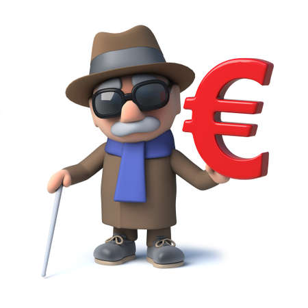 impaired: 3d render of a funny cartoon blind man character holding a Euro currency symbol.