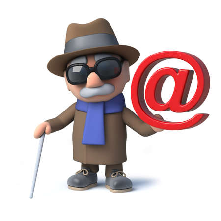 visually: 3d render of a funny cartoon blind man character holding an email address symbol