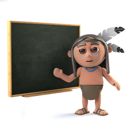 3d render of a funny cartoon Native American Indian character standing in front of a blackboard.