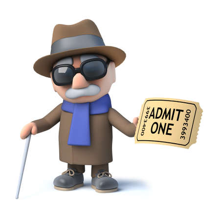 invalid: 3d render of a cartoon blind man character holding an admission ticket
