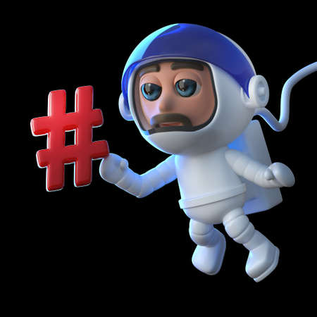 zero gravity: 3d render of a cartoon astronaut character floating in zero gravity space with a hash tag symbol.