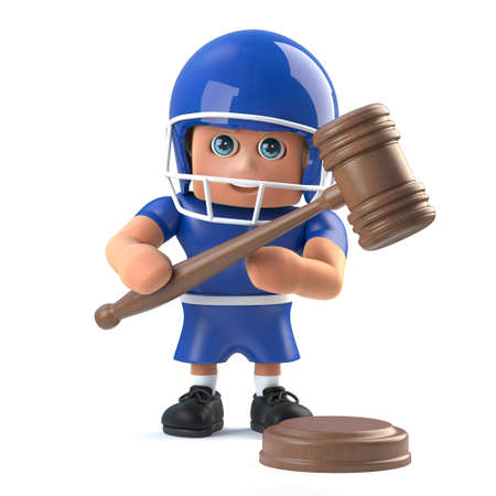 3d render of a funny cartoon American football player character holding an auctioneers gavel. Stock Photo