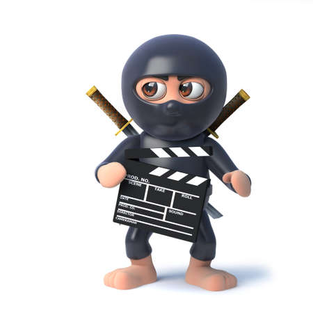 3d render of a funny cartoon ninja assassin character holding a film makers clapperboard