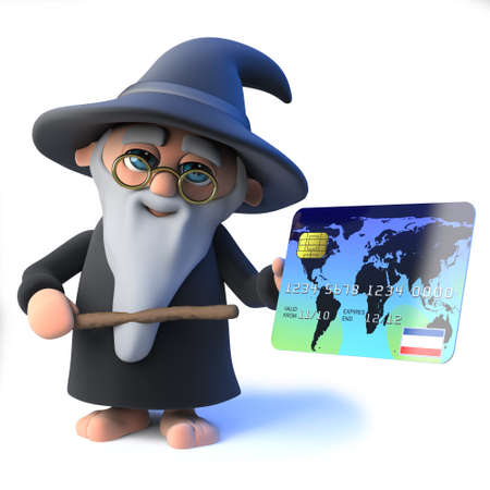 3d render of a funny cartoon wizard magician holding a debit card and magic wand. Stock Photo