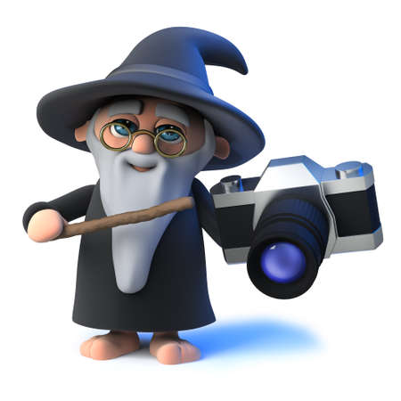 3d render of a funny cartoon magic wizard character holding a camera