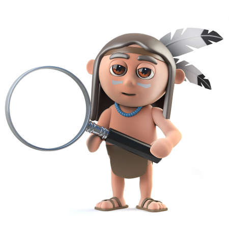 3d render of a funny cartoon Native American Indian character holding a magnifying glass.