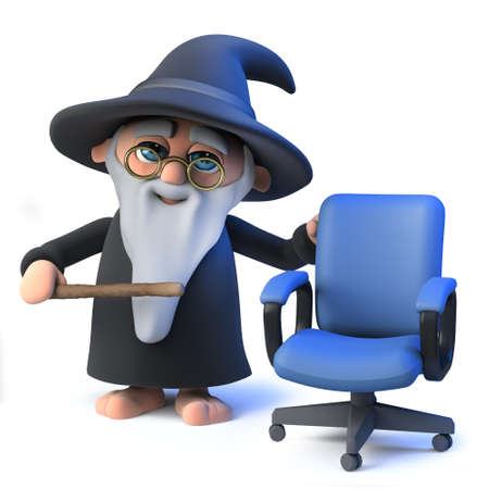 3d render of a funny cartoon wizard magician character standing next to an empty office chair.