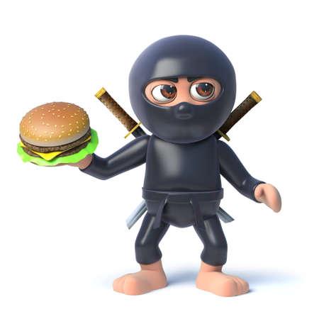 3d render of a cartoon ninja assassin character holding a beef burger snack