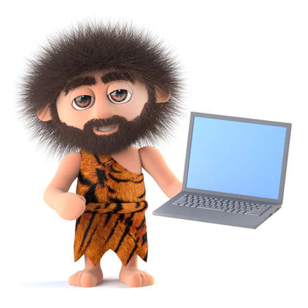 3d render of a funny cartoon primitive caveman character holding a laptop computer Stock Photo