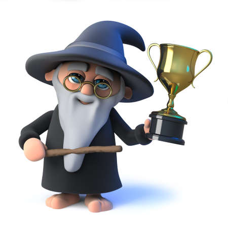 3d render of a funny cartoon magician wizard character with magic wand and holding a winners gold cup trophy award.