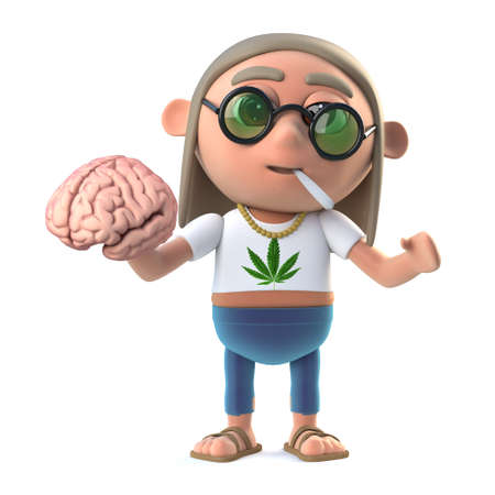 harm: 3d render of a funny cartoon hippie stoner character smoking marijuan cigarette and holding a human brain in testimony to the physical harm that can be accrued through the use of narcotics and hypnotic drugs.