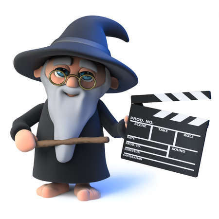 3d render of a funny cartoon wizard magician character holding a movie maker clapperboard. Stock Photo