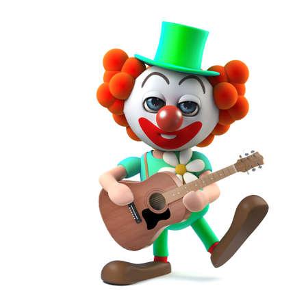 3d Funny cartoon clown minstrel plays acoustic guitar Stock Photo