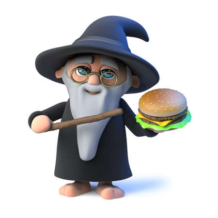 3d render of a funny cartoon wizard magician character holding a beefburger fast food snack and casting a spell with his magic wand on it. Stock Photo