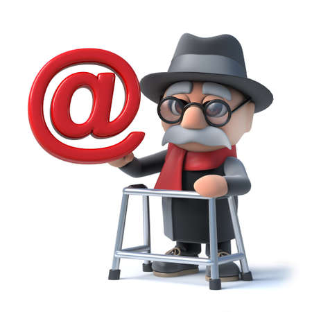 3d render of a funny cartoon old man character with a walking frame holding an email address symbol.