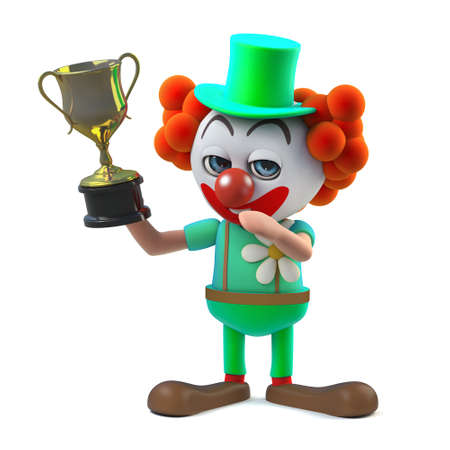 3d render of a funny cartoon clown character giggling and holding a gold cup trophy award prize. Stock Photo
