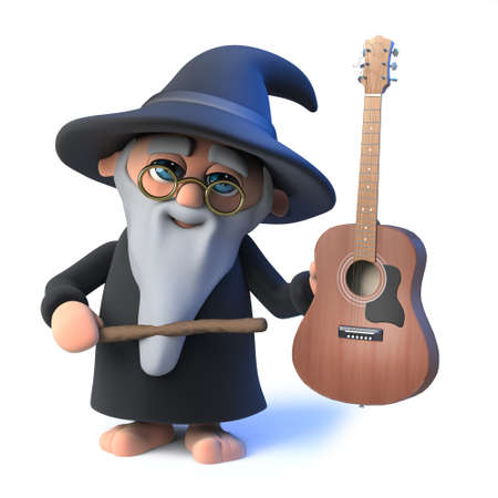 spells: 3d render of a funny cartoon wizard magician character holding an acoustic guitar. Stock Photo