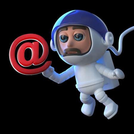 caida libre: 3d hacen de un astronauta divertido de la historieta que flota en espacio en gravedad cero que sostiene un símbolo del email address. Foto de archivo