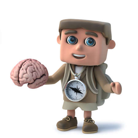 3d render of a funny cartoon hiker character holding a human brain. Stock Photo