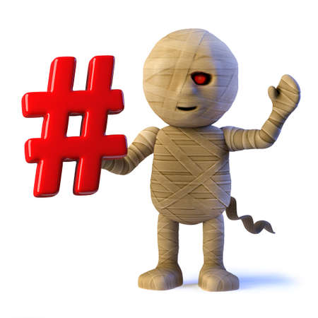 3d render of a funny cartoon Halloween mummy monster holding a hashtag symbol. Stock Photo