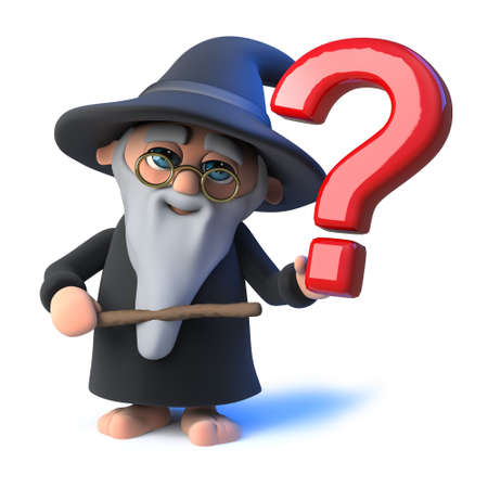 3d render of a funny cartoon wizard magician character holding a question mark symbol.