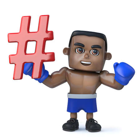 3d render of a funny cartoon black boxer character holding a hash tag symbol and waving his boxing gloved fist in triumph.