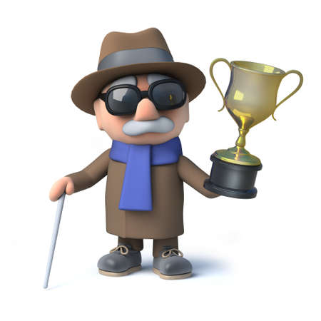 3d render of a cartoon blind man character hold a gold cup trophy award of success and victory.