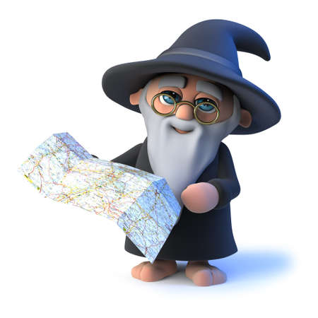 3d render of a funny cartoon magician wizard character holding a map or chart to use for navigation.
