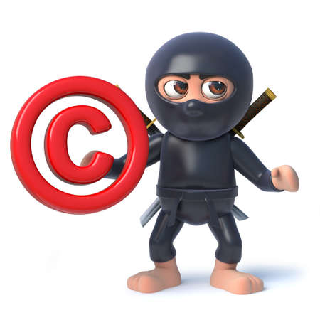 3d render of a funny cartoon ninja assassin character holding an email address symbol.