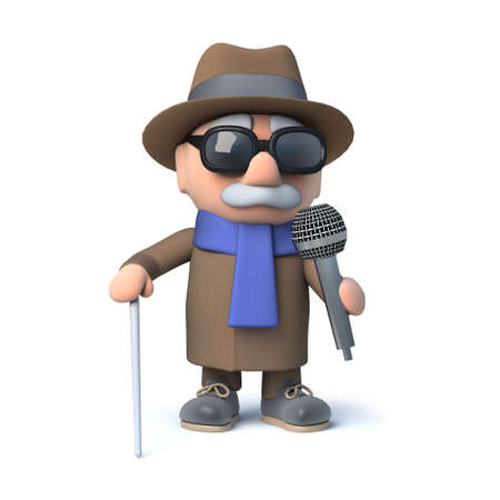 impaired: 3d render of a cartoon blind man character holding a microphone
