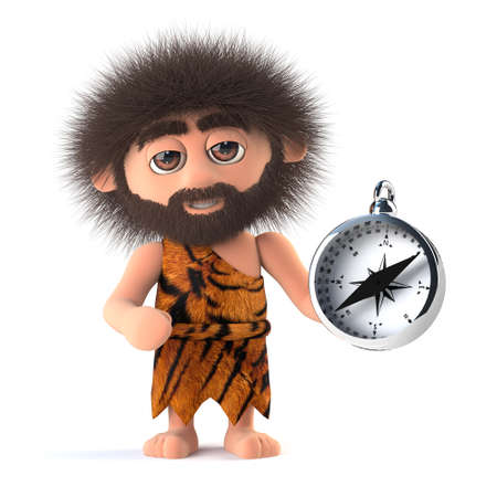 3d Funny  cartoon caveman holding a magnetic compasss