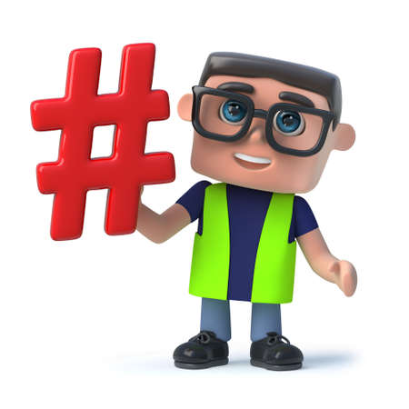 3d render of a funny cartoon health and safety official holding a hash tag symbol