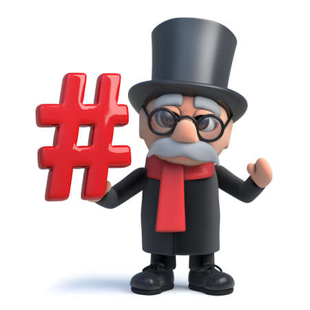 3d render of a funny cartoon old noble lord character holding a hash tag symbol.