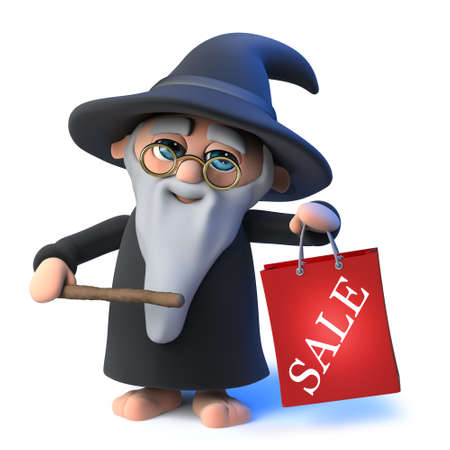 3d render of a funny cartoon wizard magician character holding a magical wand and a shopping bag marked sale. Stock Photo