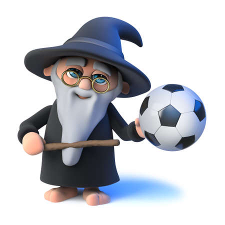 3d render of a funny cartoon wizard magician character waving his wand at a soccer ball.