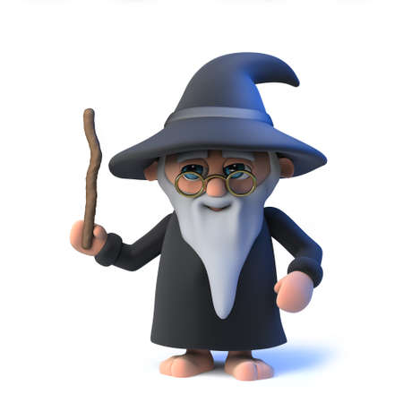 3d render of a funny cartoon wizard character waving his magical wand