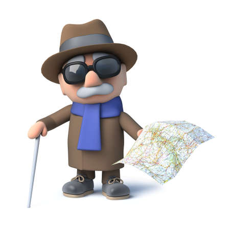 3d Old blind man holding a map Stock Photo