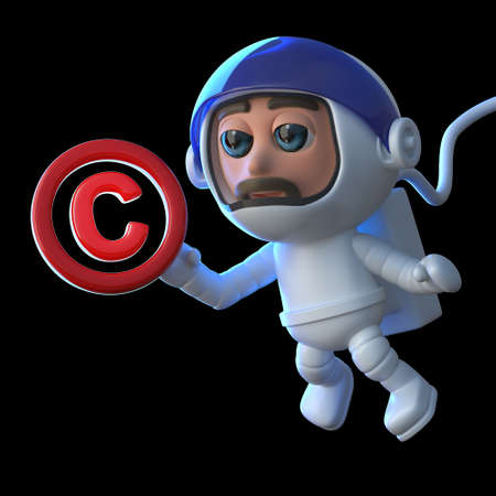 3d render of a funny cartoon astronaut spaceman floating in space with a copyright symbol