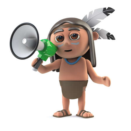 3d render of a funny cartoon Native American Indian character speaking through a megaphone loudhailer.