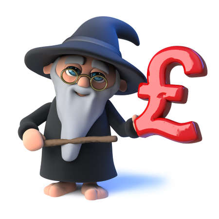 3d Funny  cartoon wizard magician points his wand at a UK Pounds Sterling currency symbol