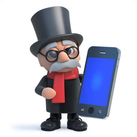 doctor tablet: 3d render of a funny cartoon lord character wearing a top hat and holding a smartphone tablet pc device.