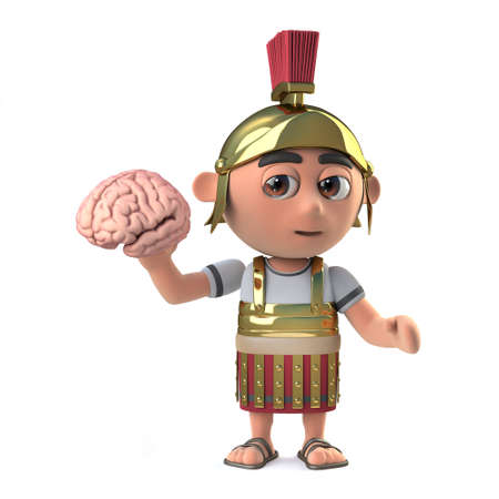 3d render of a funny cartoon Roman soldier character wearing armour and holding a human brain Stock Photo