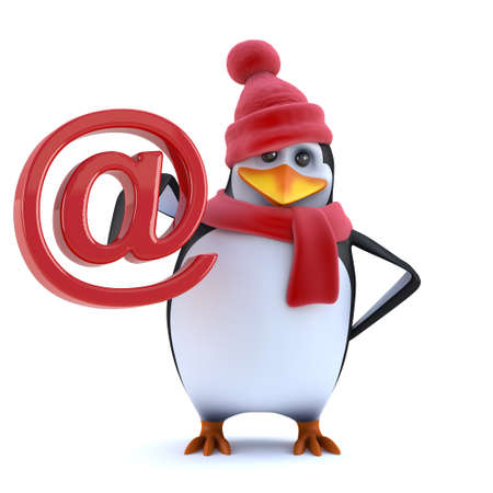 3d render of a funny cartoon penguin character wearing a red wool hat with bobble and woolen scarf, again in red, and holding an email address symbol recognisable to users of the internet. Stock Photo