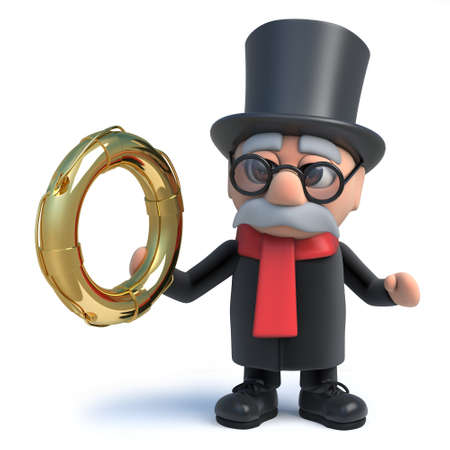 drown: 3d render of a funny cartoon lord character wearing a top hat and holding a gold life ring. Stock Photo