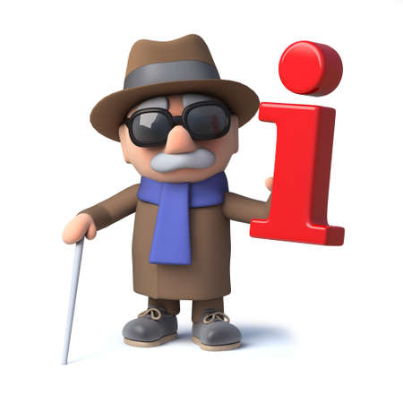 3d render of a cartoon blind man character holding a red information symbol