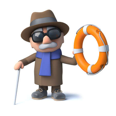 3d render of a cartoon blind man character holding out a life ring