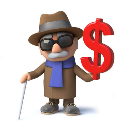 3d render of a cartoon blind man character holding a US Dollar currency symbol.