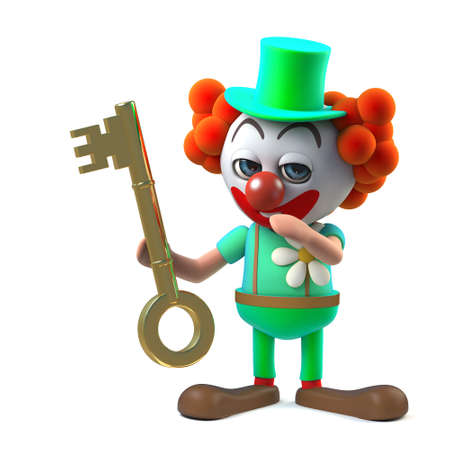stupid: 3d render of a funny cartoon clown character holding a gold key