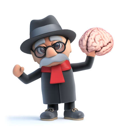 3d render of a cartoon old man character holding a human brain